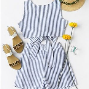 Tops - Striped Blue And White Two Piece Set